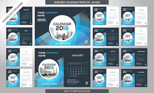 Szablon kalendarza biurowego 2018 - zawiera 12 miesięcy