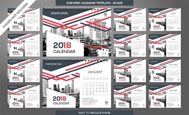 Szablon kalendarza biurowego 2018