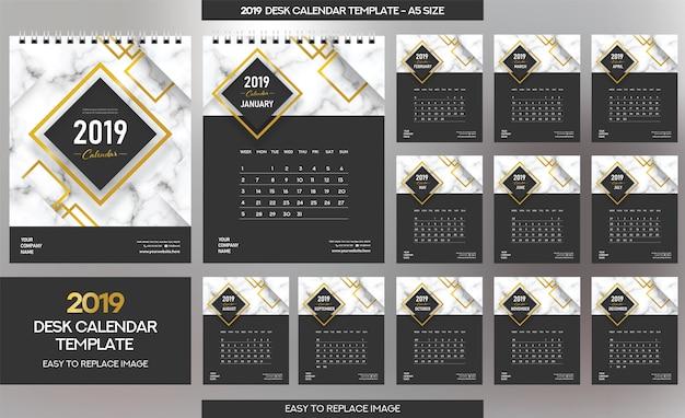 Szablon kalendarza biurowego z marmuru 2019