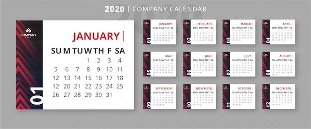 Szablon kalendarza biznes nowoczesny 2020