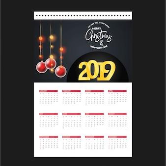 Szablon kalendarza bożego narodzenia 2019