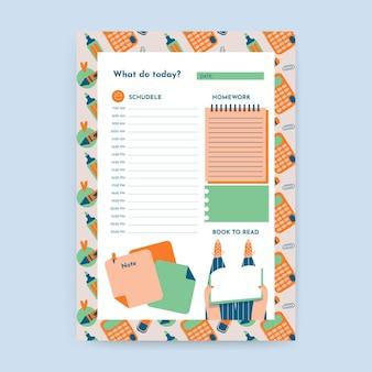 Szablon kalendarza codziennej edukacji kreatywny wzór