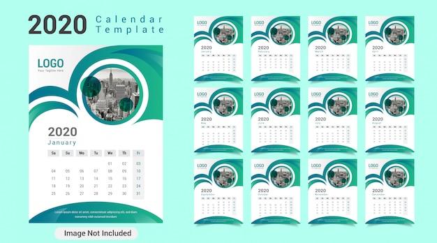 Szablon kalendarza kreatywnego nowego roku 2020