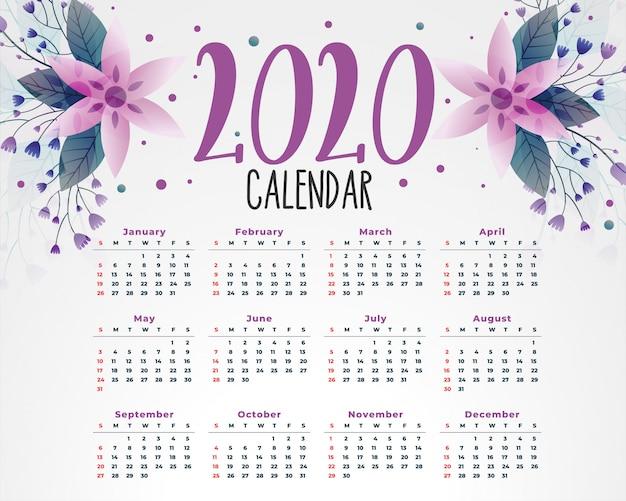 Szablon kalendarza kwiat 2020