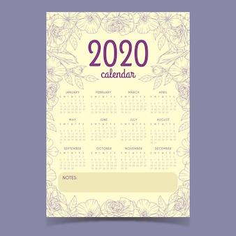 Szablon kalendarza kwiatowy 2020