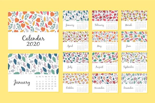 Szablon kalendarza kwiatowy wzór 2020