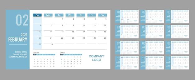 Szablon kalendarza lub planera 2022 12 miesięcy z zielonym motywem tosca