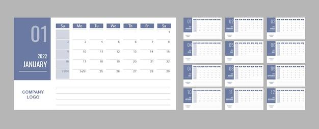 Szablon kalendarza lub planisty 2022 12 miesięcy z niebieskim tłem
