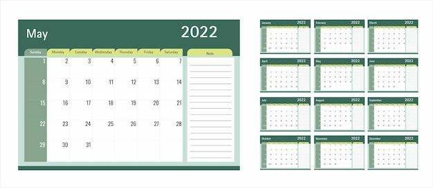 Szablon kalendarza lub planisty 2022 12 miesięcy z zielonym motywem