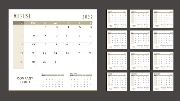 Szablon kalendarza lub terminarza 2022 12 miesięcy ze złotym motywem