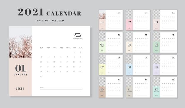 Szablon kalendarza. minimalistyczny design.