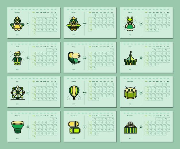 Szablon kalendarza motywu karnawału