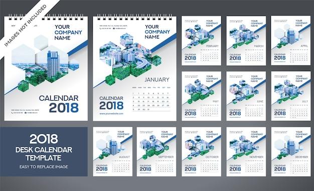 Szablon kalendarza na biurko 2018 - w zestawie 12 miesięcy - format a5