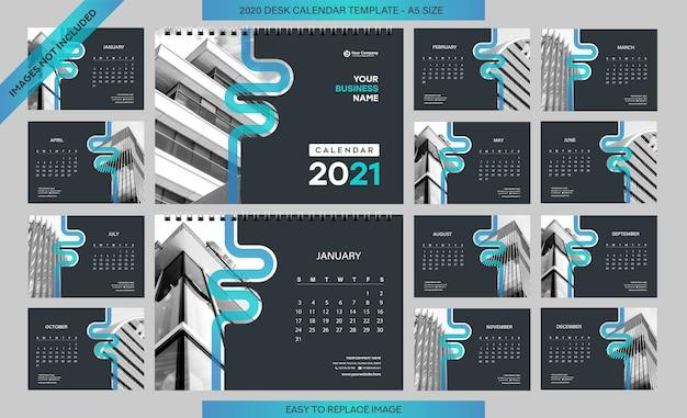 Szablon kalendarza na biurko 2021 - 12 miesięcy w zestawie - rozmiar a5