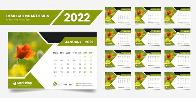Szablon kalendarza na biurko 2022