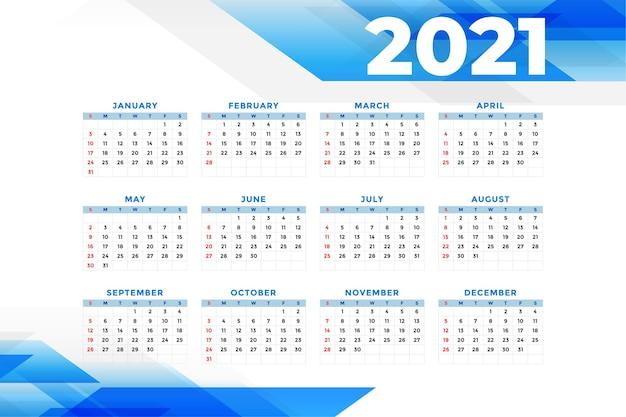 Szablon kalendarza nowego roku w stylu biznesowym