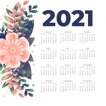 Szablon kalendarza nowego roku z dekoracją kwiatową