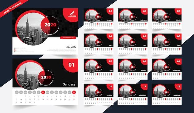 Szablon kalendarza nowoczesnego biurka 2020