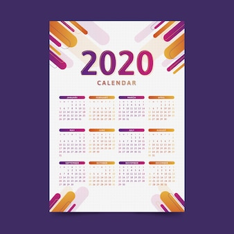 Szablon kalendarza nowoczesny 2020