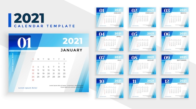 Szablon kalendarza nowy rok 2021 w stylu niebieskie kształty geometryczne