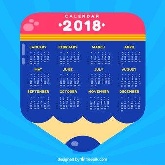 Szablon kalendarza Ołówek 2018