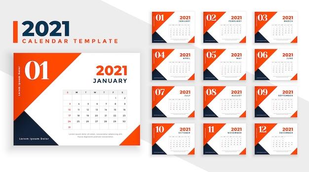 Szablon kalendarza pomarańczowy nowy rok