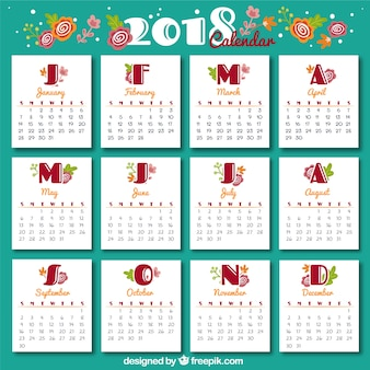 Szablon kalendarza rocznika 2018