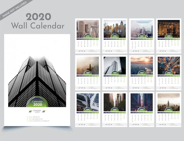 Szablon kalendarza ściennego 2020