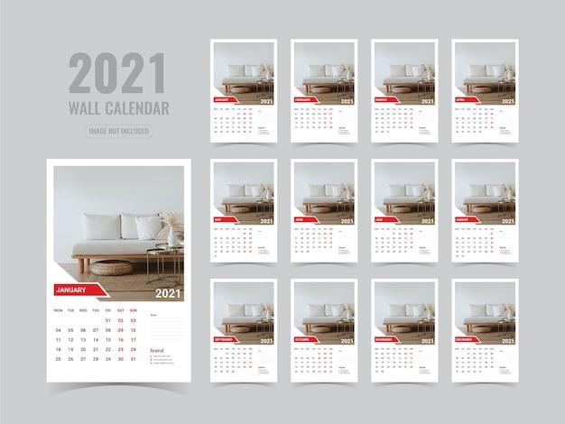 Szablon Kalendarza ściennego 2021 Premium Wektorów