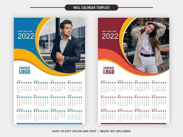 Szablon kalendarza ściennego 2022 12 miesięcy nowoczesny i fajny design