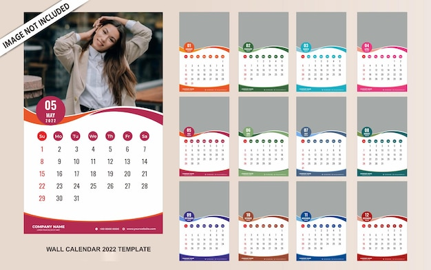 Szablon kalendarza ściennego 2022