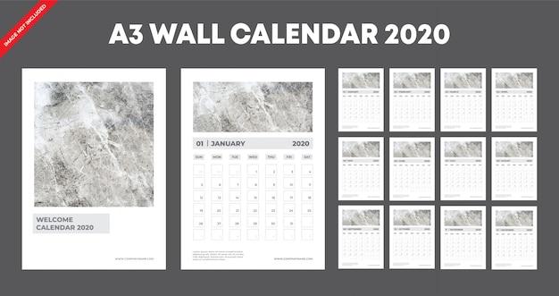 Szablon kalendarza ściennego a3 2020