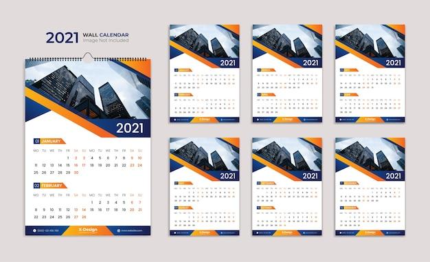Szablon kalendarza ściennego, kalendarz