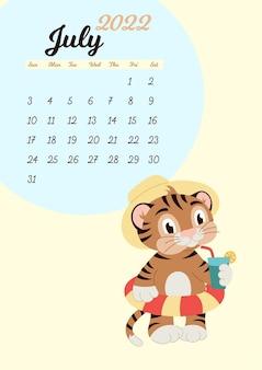 Szablon kalendarza ściennego na lipiec 2022. rok tygrysa