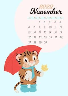 Szablon kalendarza ściennego na listopad 2022. rok tygrysa