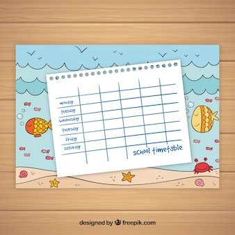 Szablon kalendarza szkolnego motyw oceanu
