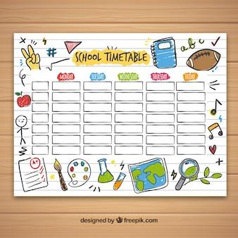 Szablon kalendarza szkolnego z rysowanymi ręcznie przedmiotami szkolnymi