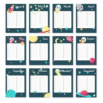 Szablon kalendarza wektor planner ze zwierzętami kosmicznymi