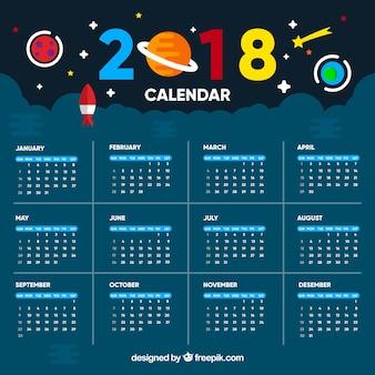 Szablon kalendarza wszechświata 2018