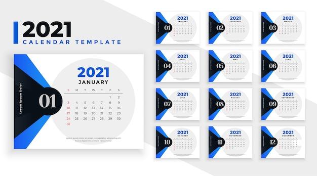 Szablon kalendarza z niebieskimi kształtami geometrycznymi