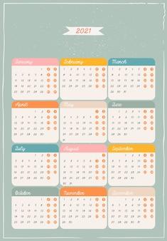 Szablon kalendarza zielony. ozdoby i ozdoby świąteczne.