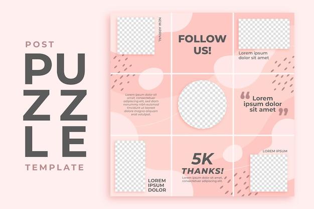 Szablon kanału puzzli różowy post instagram