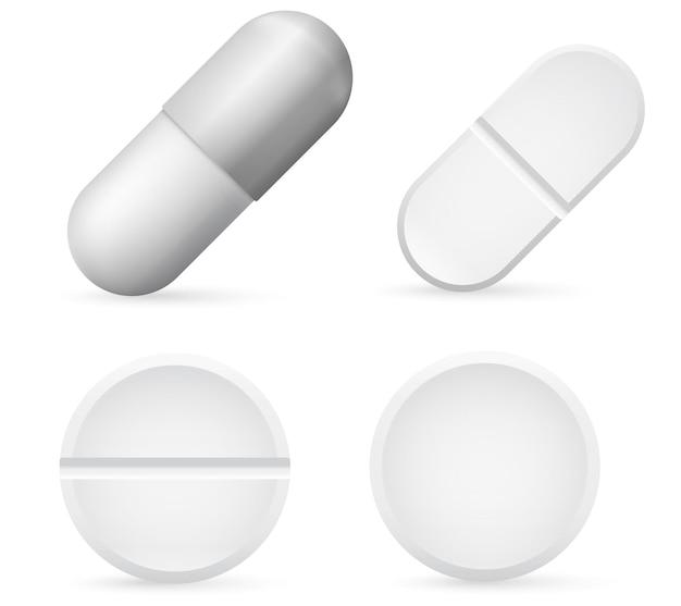 Szablon kapsułki pigułki, realistyczny biały zestaw medycznych pigułek 3d.