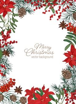 Szablon kartki bożonarodzeniowej z świątecznym życzeniem wewnątrz obramowania wykonanym z gałęzi iglastych i szyszek, poinsecji i jagód jemioły