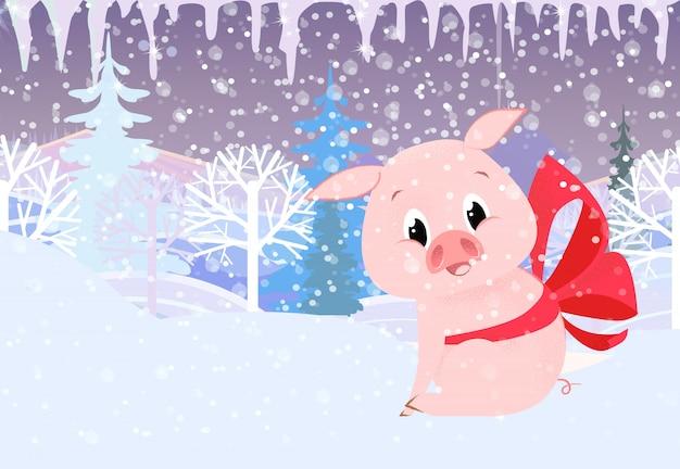 Szablon kartki świąteczne. boże narodzenie świnia z czerwoną kokardą