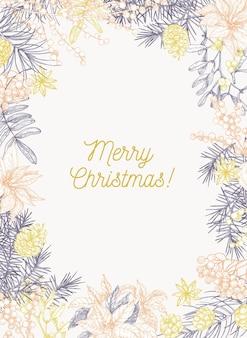 Szablon kartki świąteczne z życzeniami świątecznymi wewnątrz ramy wykonanej z gałęzi i szyszek drzew iglastych