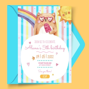 Szablon kartki urodzinowej dla dzieci w akwareli
