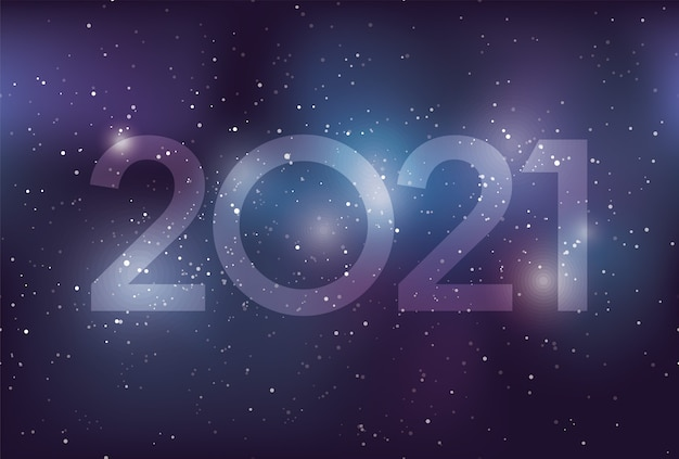 Szablon kartki z życzeniami noworocznymi roku 2021 z galaktyką drogi mlecznej, gwiazdami i mgławicą