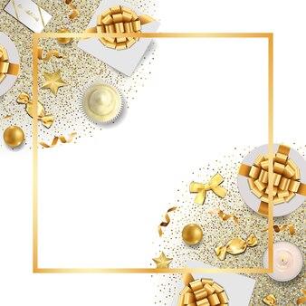 Szablon kartki z życzeniami ze złotymi przedmiotami świątecznymi w widoku z góry