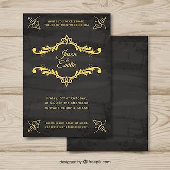 Szablon karty ślub z rocznika stylu